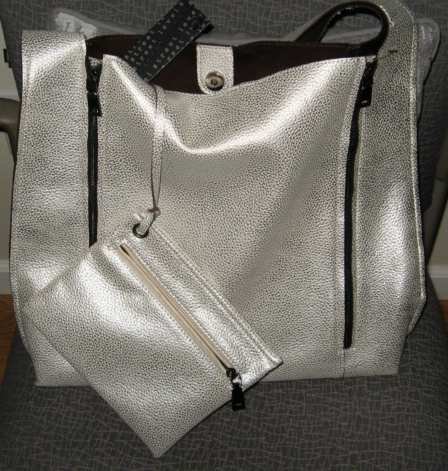 STREET LEVEL 7 SILVER PEBBLE FAUX LEATHER TOTE BAG + SMALL BAG - SET - NWT