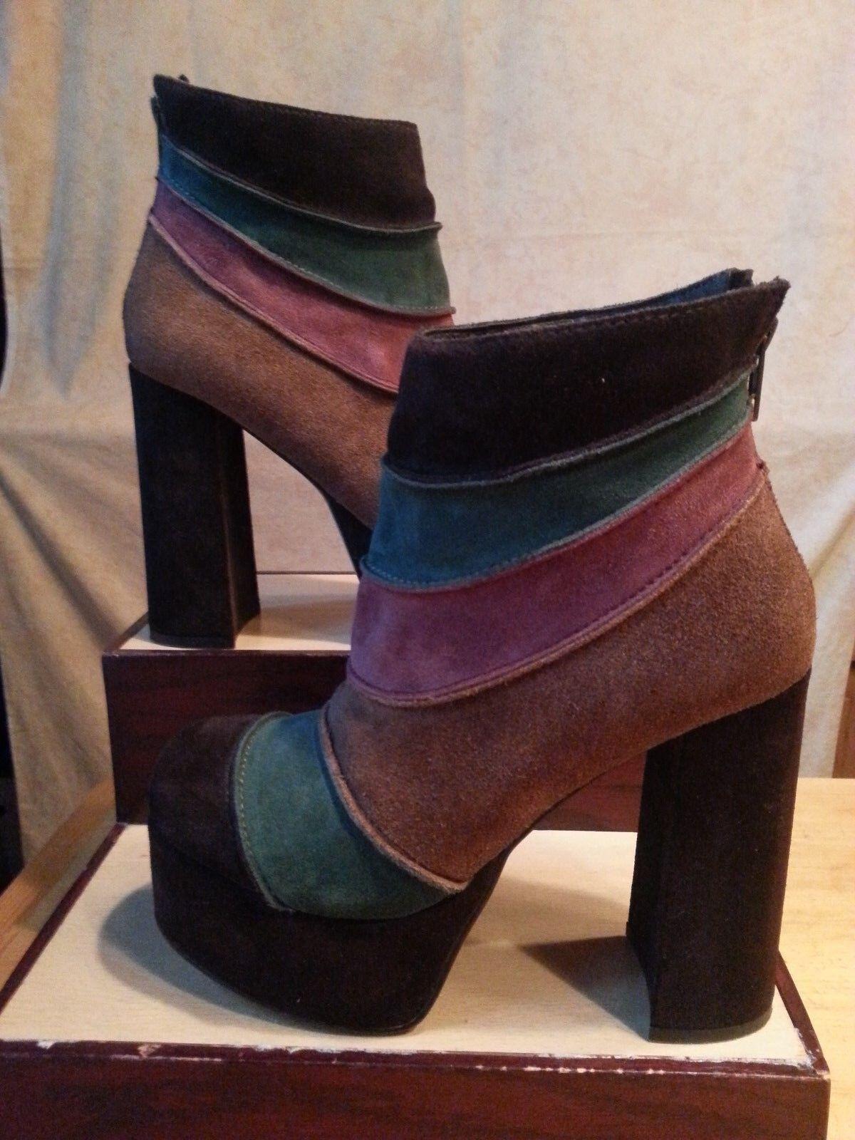 ZIGI Girl Groove Suede Leather Short Boots Multicolored High Heel Plotform FAB 7