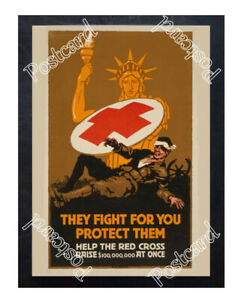 Historic-WWI-Recrutiment-Poster-Red-Cross-They-fight-for-you-Postcard