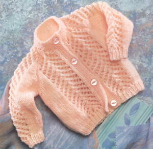 Baby-Cardigan-Prem-Open-Patterned-Front-amp-Sleeve-12-034-22-034-DK-Knitting-Pattern