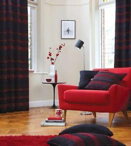 Arlington Ring Top Eyelet Curtains Red Fully Lined Ready Made - Ready made curtains red