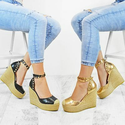 Womens Ladies Stud Espadrille Wedge Summer Sandal Platform High Ankle Strap Size | eBay