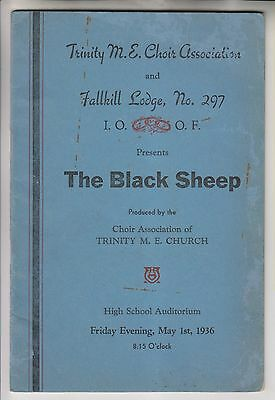 1936 PROGRAM AD JOURNAL THE BLACK SHEEP - TRINITY M.E. CHOIR & IOOF POUGHKEEPSIE