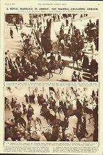 Transjordan.Amman.A royal marriage.The Mahmal; Crusading armour.1935.Print.Old