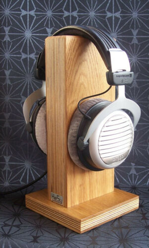 HeSy Wood Headphone Stand Holder handmade from birch plywood with solid oak wood