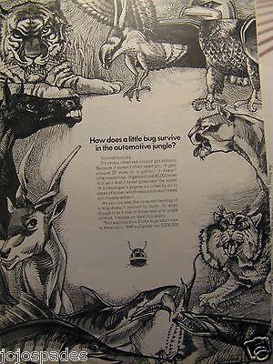 1967 Volkswagen Beetle Bug Original Print Ad Little Bug Surviving  Auto Jungle