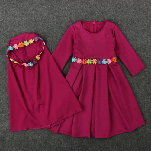 1-6T Kids Dress Hijab Sets Muslim Girls Spring Fall Abaya Child Islamic Kaftan