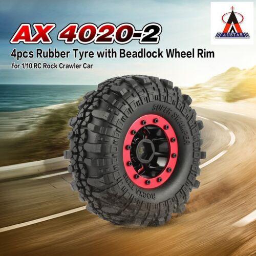 4Pcs AUSTAR AX-4020 1,9 Zoll 110mm 1//10 Rock Crawler Reifen mit Beadlock