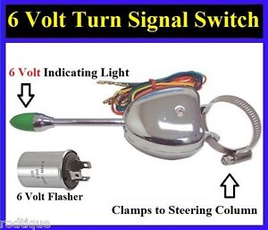 6 volt turn signal switch flasher clamps to steering. Black Bedroom Furniture Sets. Home Design Ideas
