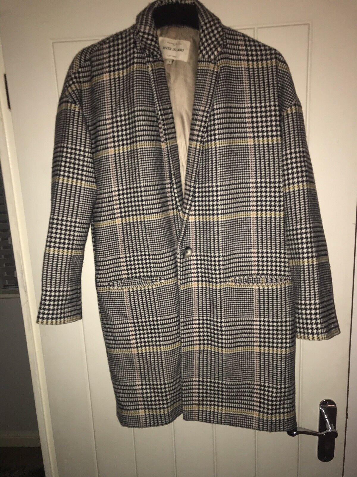 New Womens River Island Smart Tweed Print Beige & Brown Midi Coat - 6
