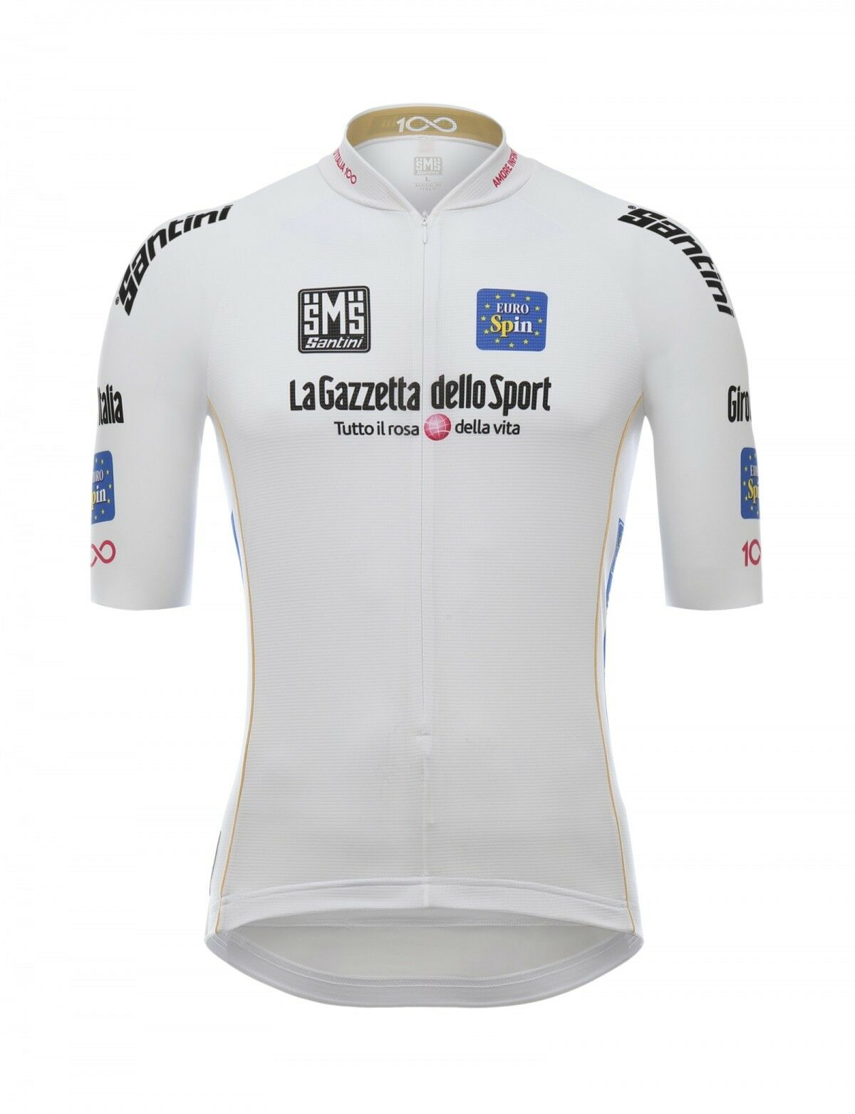 2017 GIRO D'ITALIA Best Young Rider Leaders White Cycling Jersey   by Santini