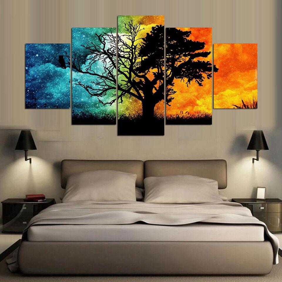 Abstract Season Tree Painting 5 Piece Canvas Print Wall Art
