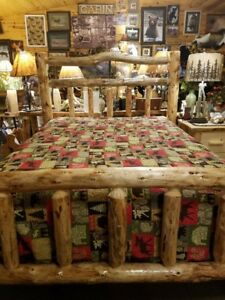 Deluxe-Log-Bed-Double-log-side-rails-Rustic-Sturdy-Best-built-bed-NEW-Design