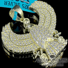 Yellow Gold Finish Over Sterling Silver Hawk Horus God Bird Pendant Pave Charm