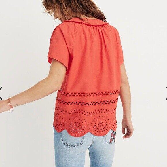 Madewell Orange Cotton Eyelet Angelica Top Size S… - image 2