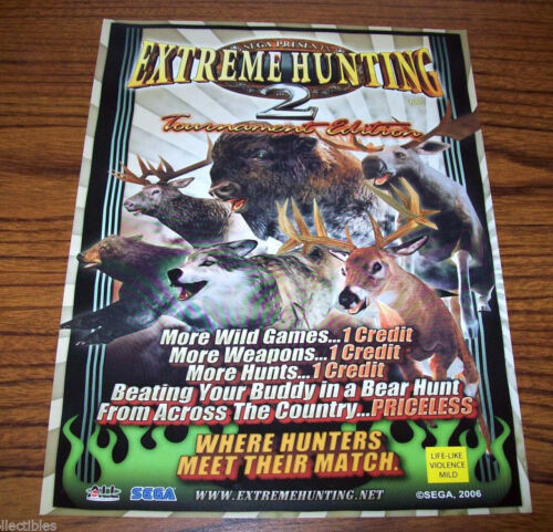 EXTREME HUNTING 2 By SEGA 2006 ORIG NOS VIDEO ARCADE GAME MACHINE PROMO FLYER