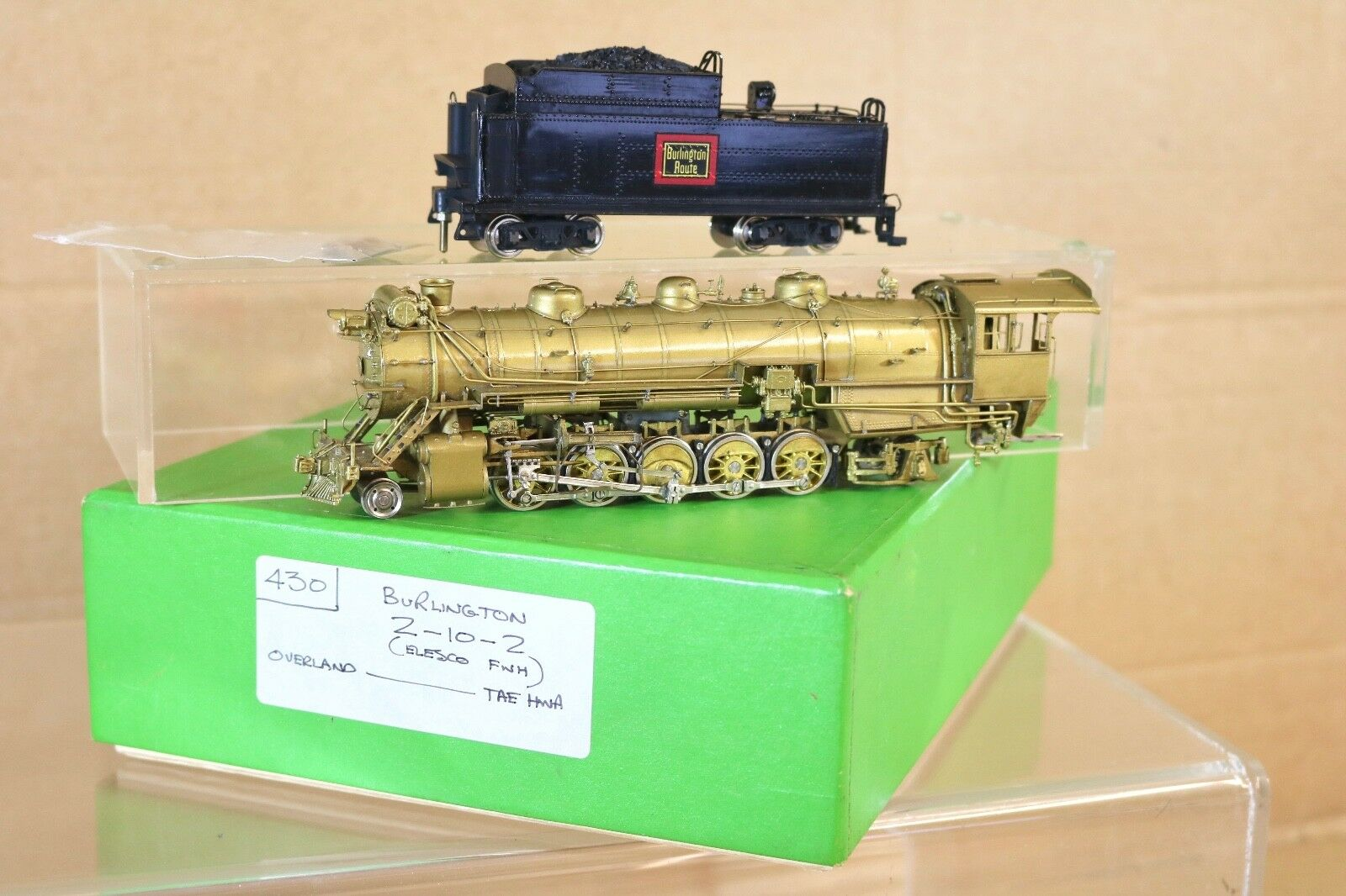 ModelllLE VON ÜBERLAND BRASS BURLINGTON CB&Q 2-10-0 ELESCO FWH LOCOMOTIVE BOXED np
