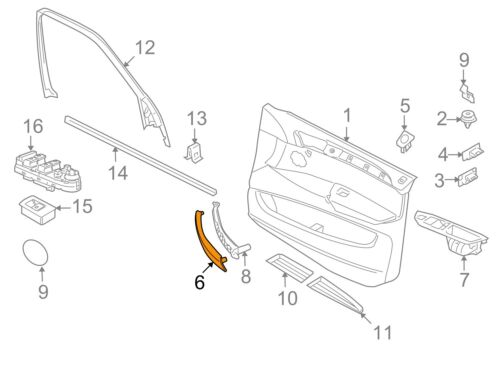 BMW GENUINE X5 X6 SERIES 07-13 O//S RIGHT DOOR HANDLE LEATHER TRIM BLACK 6970166