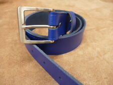Blue 38 mm Wide Hand Made Real Leather Belt 1 1//2 inch Trouser XL XX Large w5f