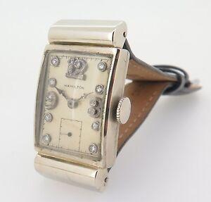 1937-Hamilton-19J-CAL-982-14K-White-Gold-Hooded-Lugs-Diamond-Dial-982-Watch