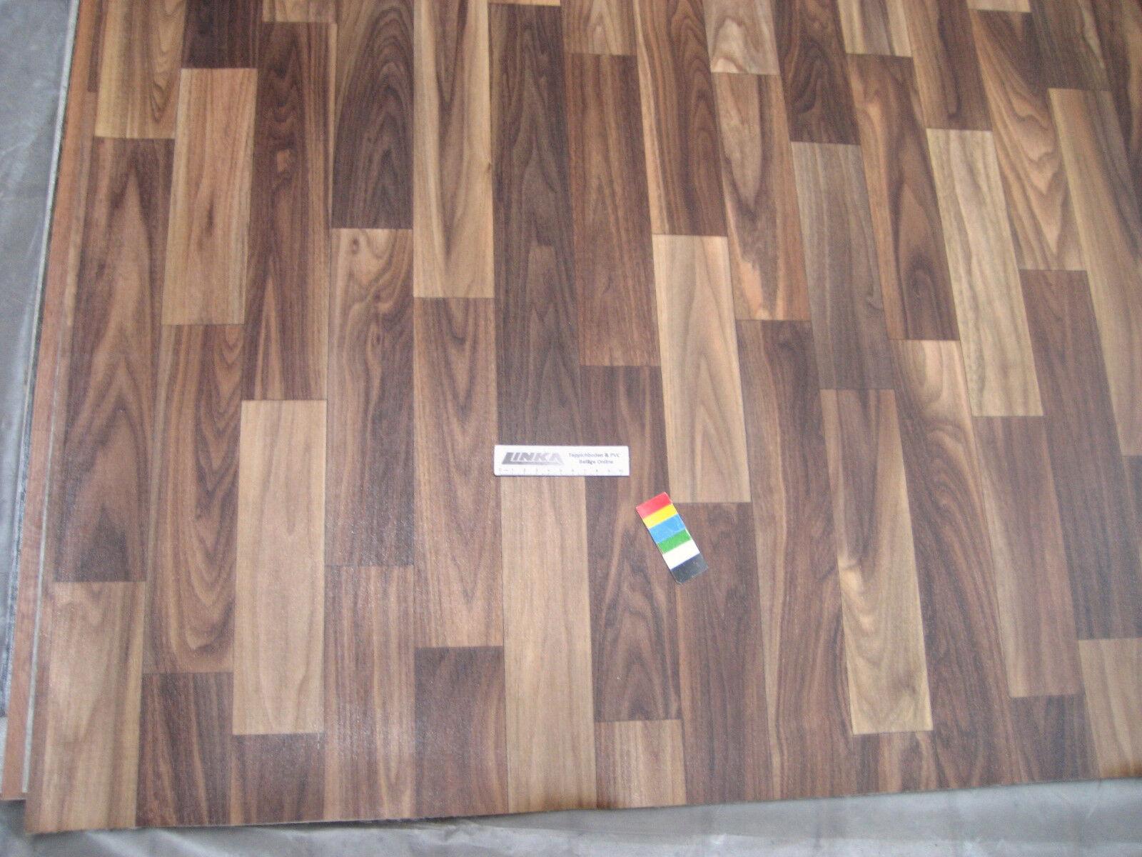 0372 PVC CV Belag Rest 167x500 cm Bodenbelag Nussbaum robuster Boden + Vlies