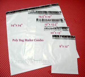 12 Poly Bag Shipping Envelope Variety ~ 4 Sizes ~ Self-Sealing Postal Mailers