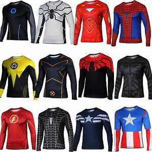 Men S Superhero Marvel Cycling Tee T Shirt Long Sleeve Bicycle