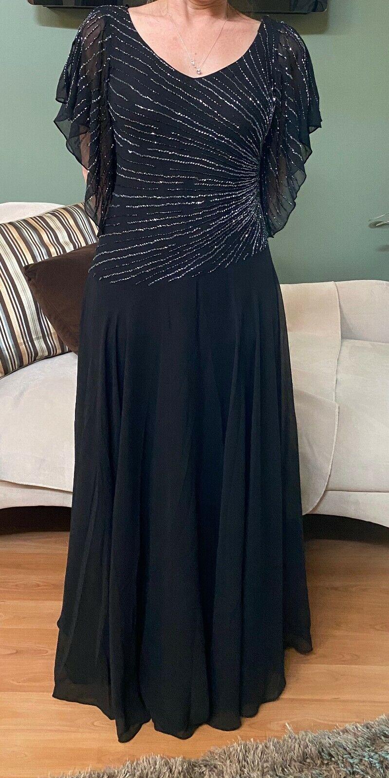 NWT J Kara Black Chiffon Gown with Starburst bead design ~ Size 8