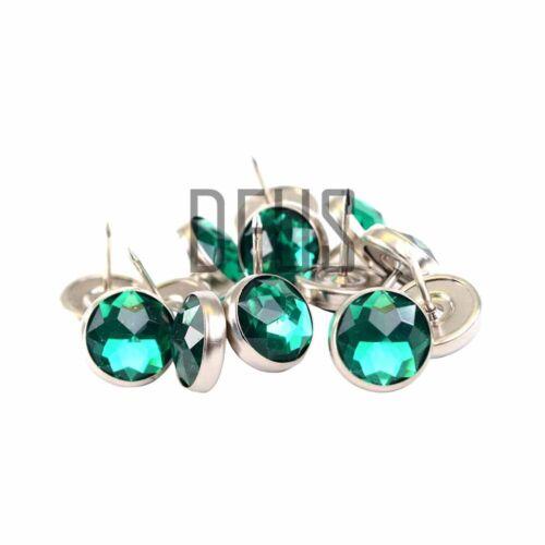Vert strass crystal upholstery nail boutons 17mm head * tête de lit canapé