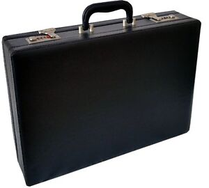 professional mens leather executive black briefcase with combination