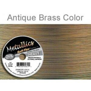 0.60mm FT453Brass Brass Colour Soft Flex Wire .024 Length 30 ft 49 Strands