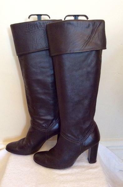 DOROTHY PERKINS DARK BROWN LEATHER SIZE KNEE HIGH Stiefel SIZE LEATHER 5/38 d8c0b3