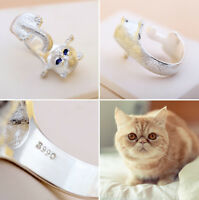 Fashion Cute Lovely Cat Kitten Silver Plated Women Girl Opining Ring Jewelry