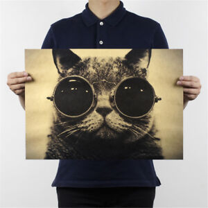 cat-sunglasses-kraft-paper-bar-poster-retro-poster-decor-painting-wall-sticker-H