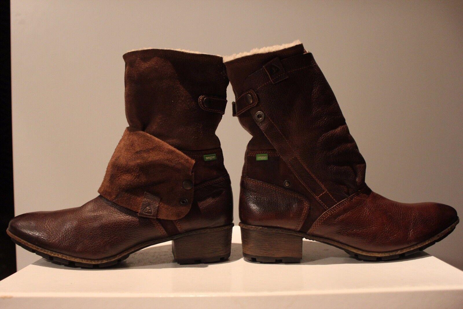 Snipe sueño marrón cuero auténtico + serraje botas con con con piel, talla 42, impecable 906a85