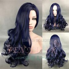 Fashion 65cm Long Black Blue Mixed Curly Party Cosplay Wigs Woman Full Hair Wig