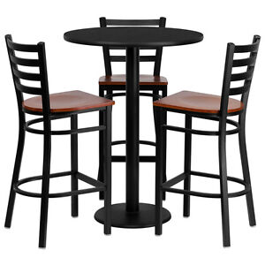 Details About Set Of 10 Round High Top Restaurant Cafe Bar Table And Cherry Seat Chair