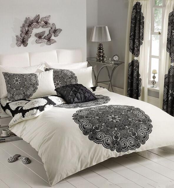 Single/Double/Queen/King Bed Quilt/Duvet Cover Set-Manhattan Black Cream