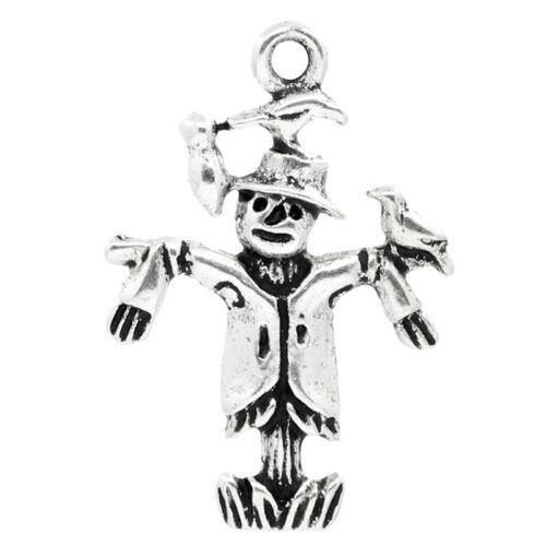 "1/""x 5//8/"" 30PCs Charm Pendants Scarecrow Silver Tone 25mmx17mm"