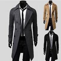 HOT Men's Slim Fit Long Trench Coat Jackets Overcoat Military Windbreaker XS~L
