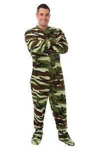 Big Feet Pjs - Green Camo Fleece Adult Footed Pajamas