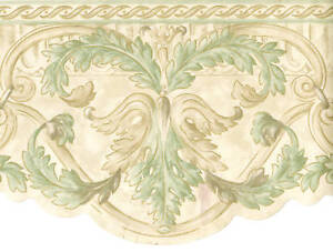 Acanthus Leaf Scroll Gold Cream Sage Green Die Cut Scallop