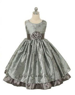 New Silver Flower Girls Dress 2 4 6 8 10 12 Christmas Pageant Easter Party MK142