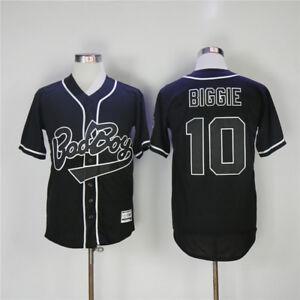 MEN-BIGGIE-SMALLS-10-BAD-BOY-BLACK-White-BASEBALL-JERSEY-All-Stitched