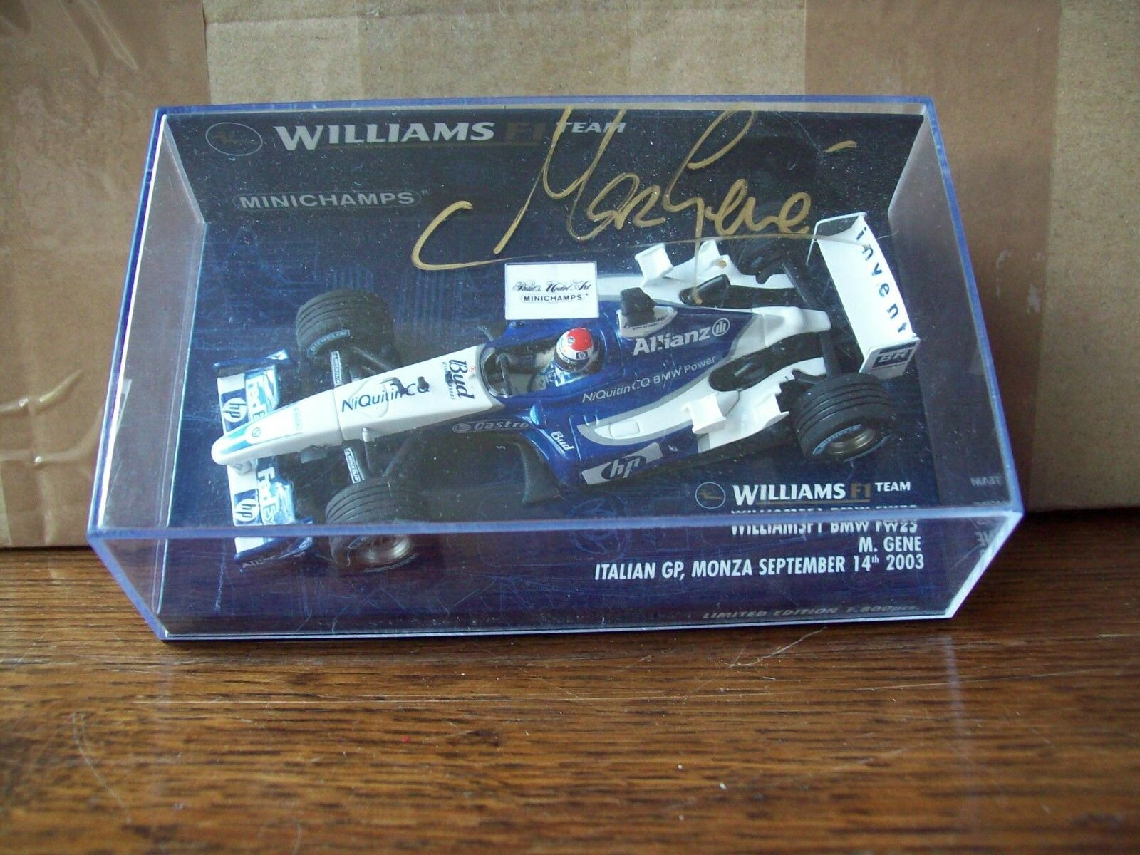 1 43 WILLIAMS 2003 BMW FW25 MARC GENE GP ITALY SIGNED BY MARC ON PLASTIC LID