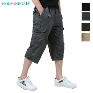 Men-039-s-Tactical-Cargo-Shorts-Capri-Pants-Jogging-Shorts-Work-Army-Pants-Trousers