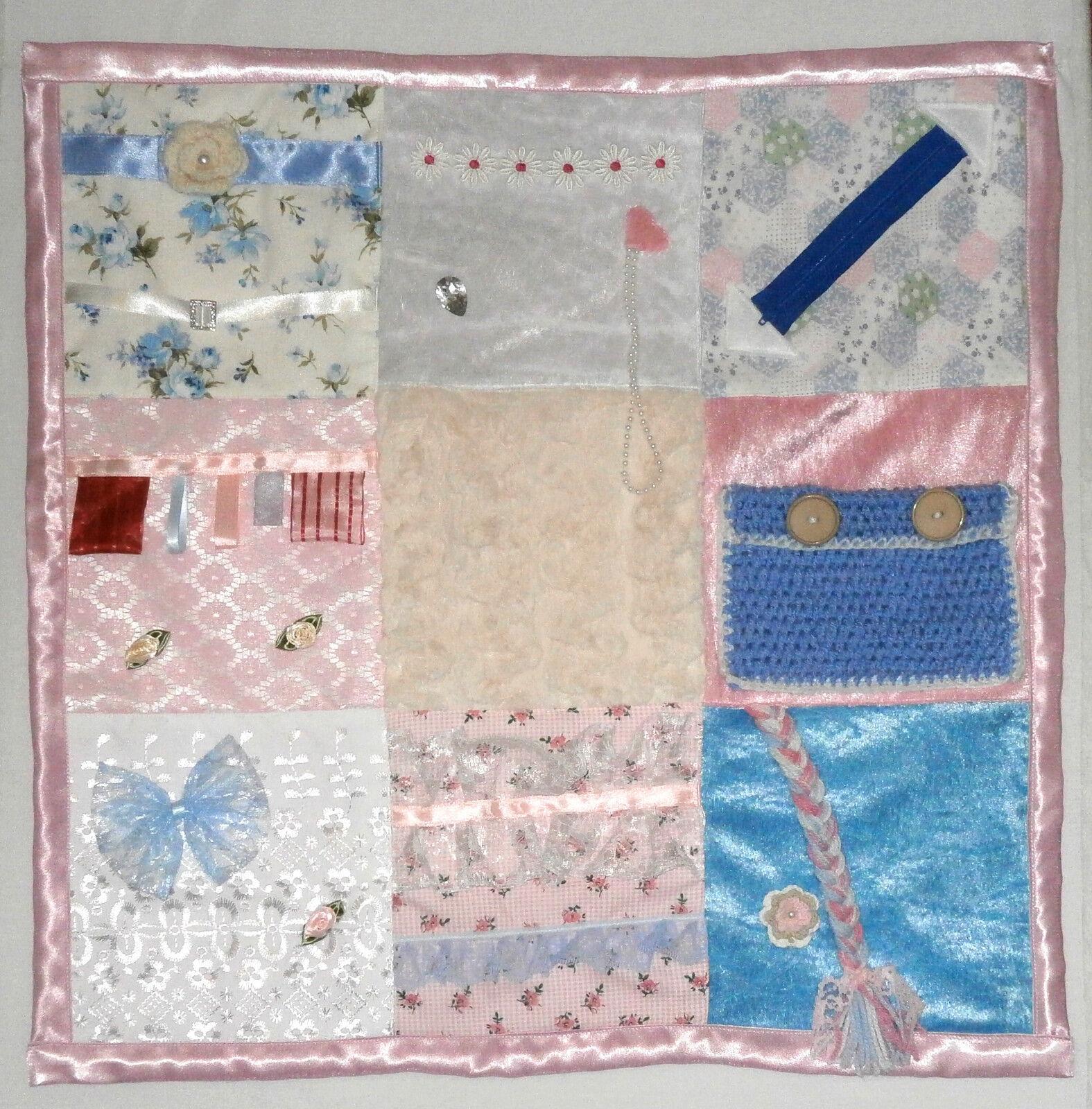 Pink & bluee Cotton & Wool Dementia   Alzheimer's Twiddle Fidget Sensory Blanket