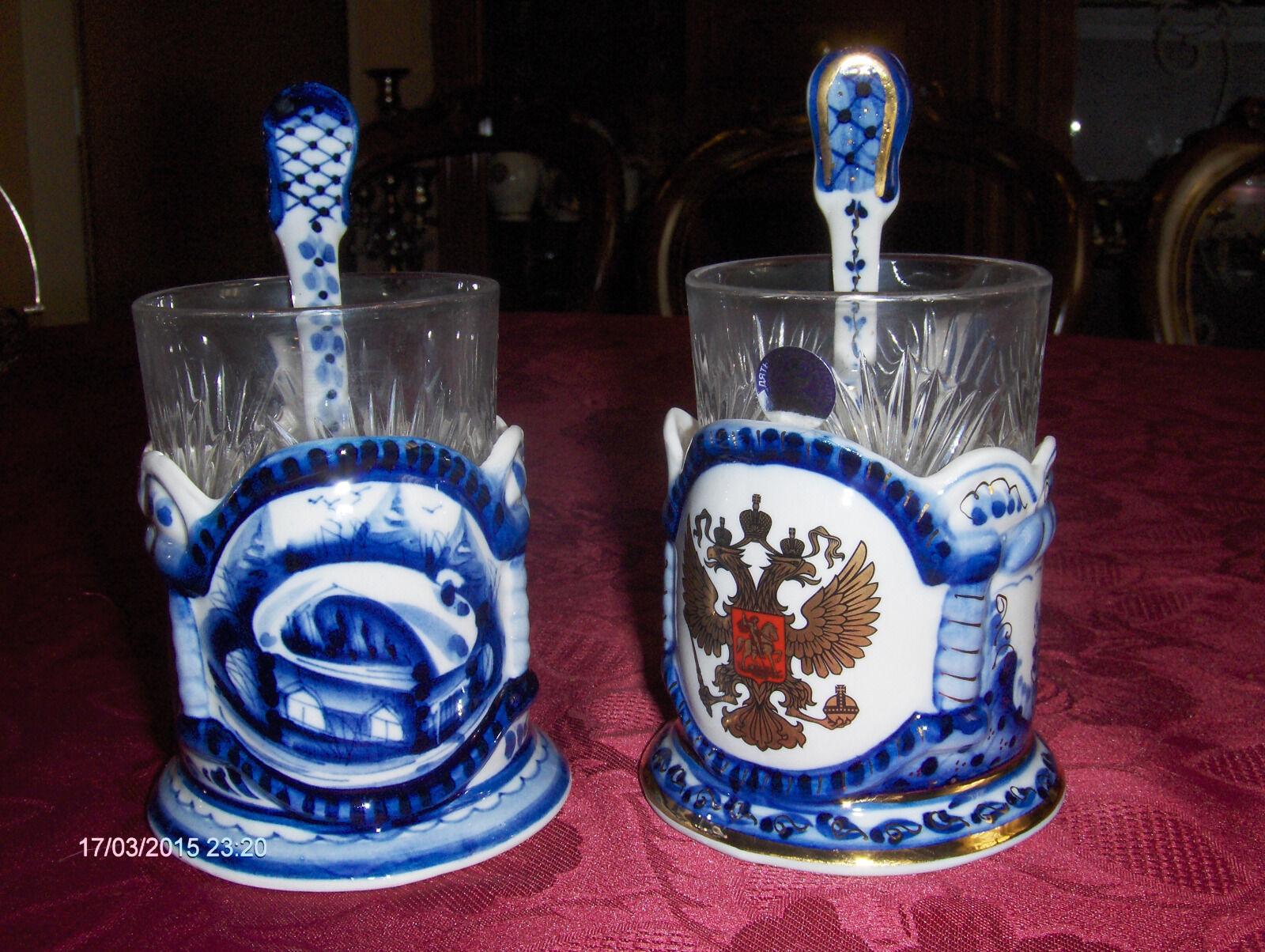 Glashalter Set 3tlg Porzellan Bleikristallglas Löffel Set 54,99 EUR N1 VERKAUFT
