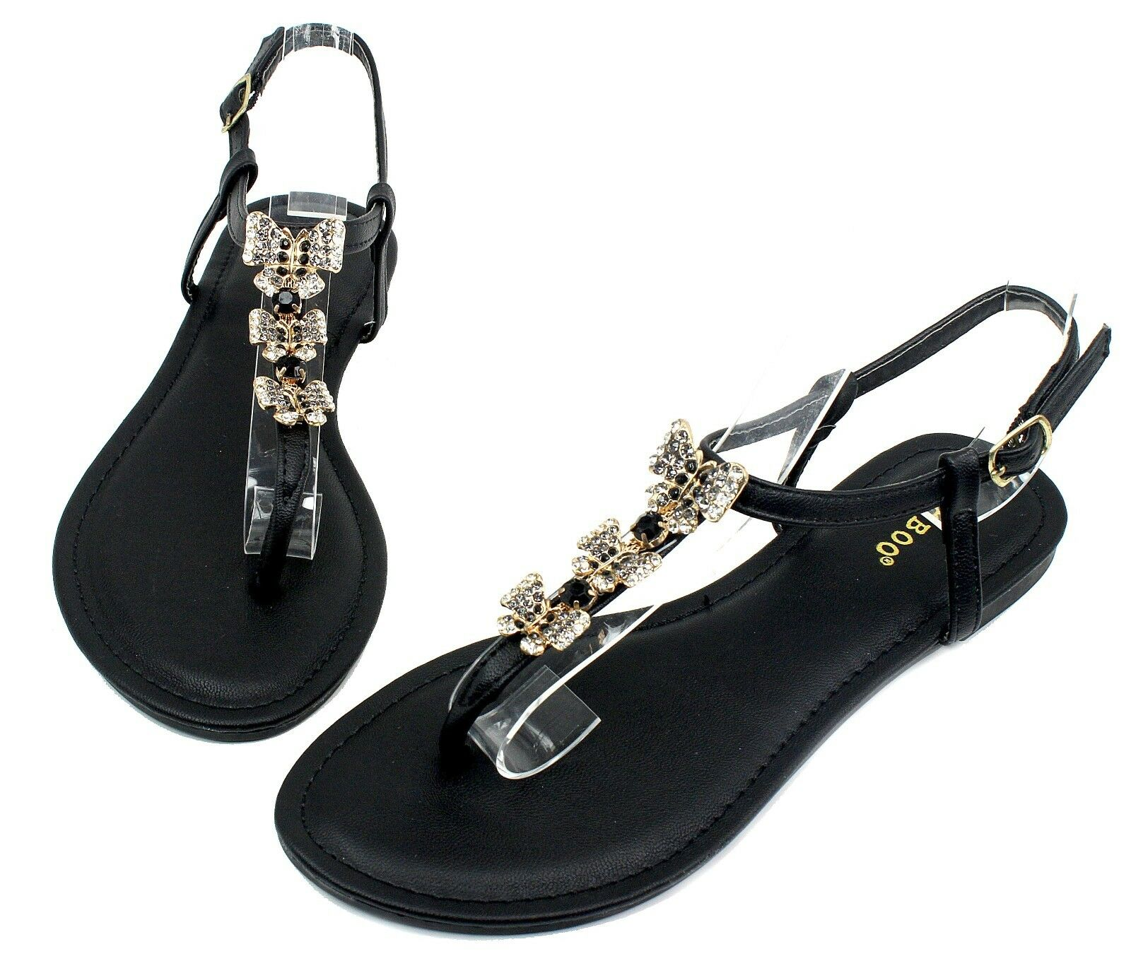 Grayson-17 Fashion Butterfly Shoes Stone Flat Cute Sandals Party Women Shoes Butterfly Black 6.5 1b57e4