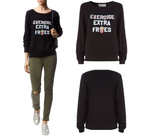 Wildfox Couture Womens Excerise Extra Fries Please BBJ Jumper Sweater Top S M L